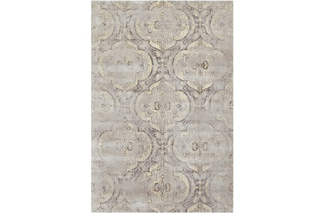 "3'2""x5'3"" Rug-Grey And Buttercream Faded Medallions - 360"