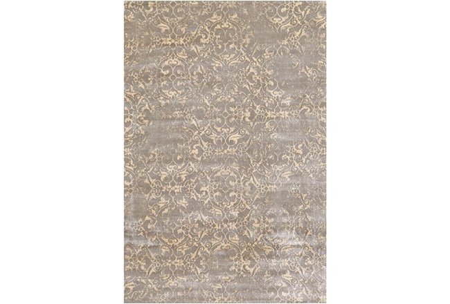 88X123 Rug-Taupe And Buttercream Faded Tapestry - 360