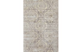 88X123 Rug-Grey And Buttercream Faded Medallions