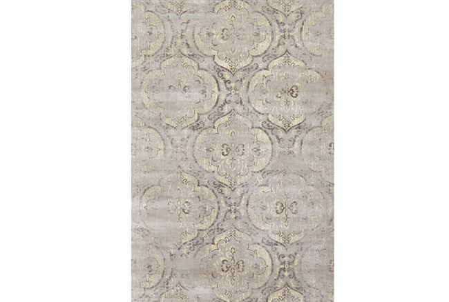 88X123 Rug-Grey And Buttercream Faded Medallions - 360