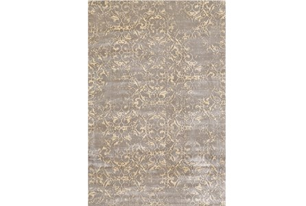 110X146 Rug-Taupe And Buttercream Faded Tapestry