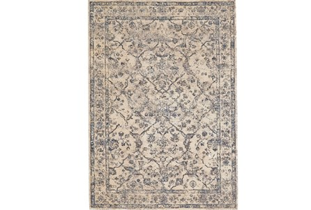 88X123 Rug-Grey And Buttercream Distressed Tapestry