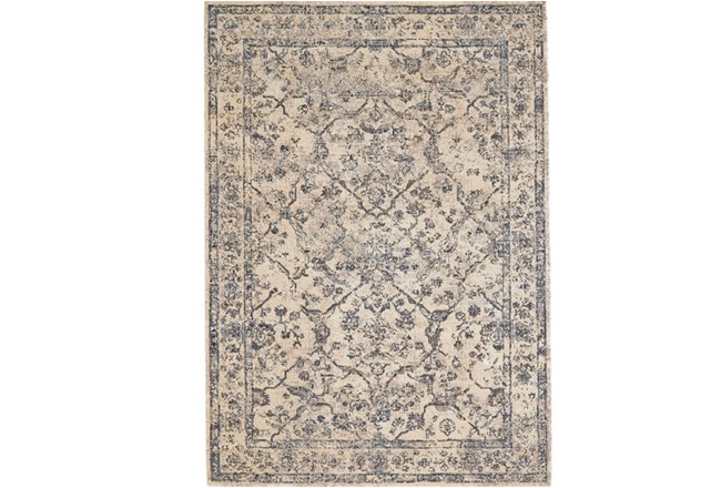 88X123 Rug-Grey And Buttercream Distressed Tapestry - 360
