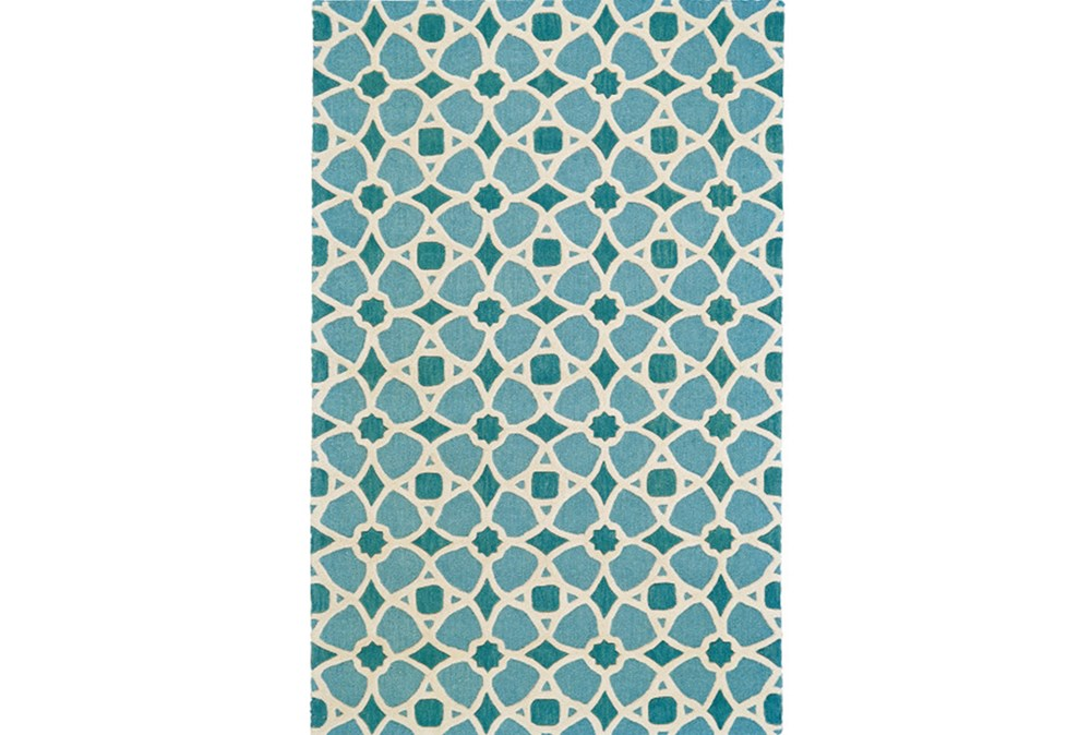 60X96 Rug-Aqua And Blue Moroccan Tile