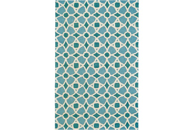 60X96 Rug-Aqua And Blue Moroccan Tile - 360