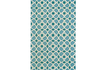 96X132 Rug-Aqua And Blue Moroccan Tile - Main