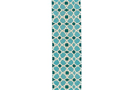 30X96 Rug-Aqua And Blue Moroccan Tile