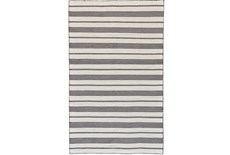 24X36 Rug-Recycled Pet Black Pin Stripes
