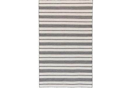 24X36 Rug-Recycled Pet Black Pin Stripes