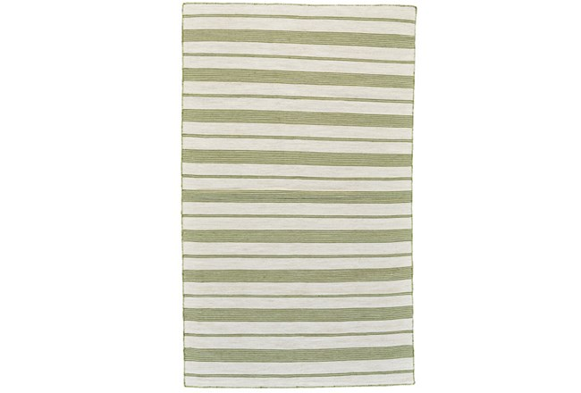 24X36 Rug-Recycled Pet Green Pin Stripes - 360