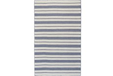 2'x3' Rug-Recycled Pet Navy Pin Stripes