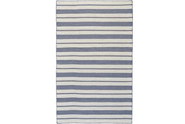 24X36 Rug-Recycled Pet Navy Pin Stripes