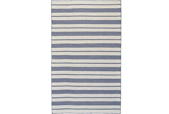 24X36 Rug-Recycled Pet Navy Pin Stripes - 360