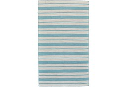 24X36 Rug-Recycled Pet Turquoise Pin Stripes