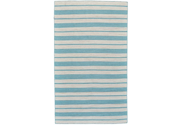 24X36 Rug-Recycled Pet Turquoise Pin Stripes - 360