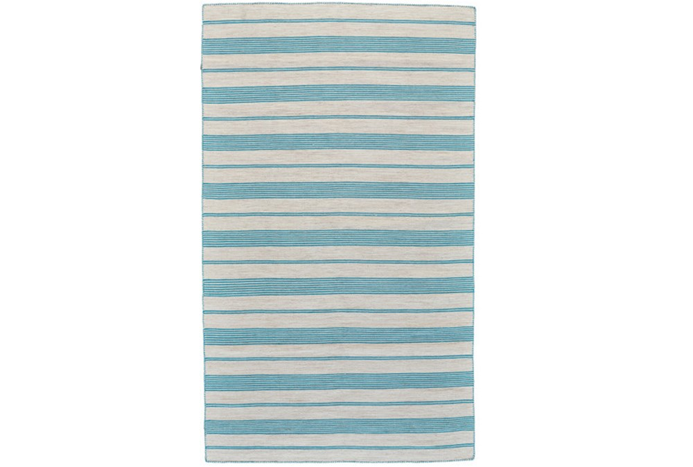 48X72 Rug-Recycled Pet Turquoise Pin Stripes