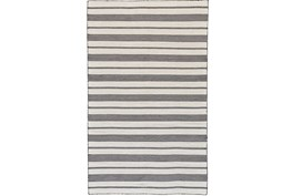 48X72 Rug-Recycled Pet Black Pin Stripes