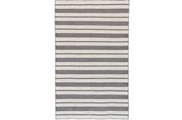 48X72 Rug-Recycled Pet Black Pin Stripes