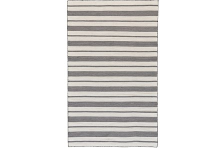 48X72 Rug-Recycled Pet Black Pin Stripes - Main