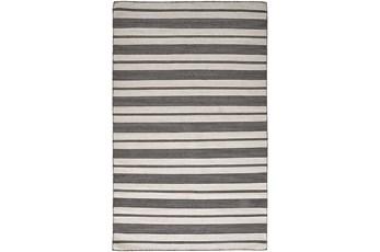 4'x6' Rug-Recycled Pet Black Pin Stripes