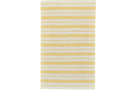 48X72 Rug-Recycled Pet Gold Pin Stripes