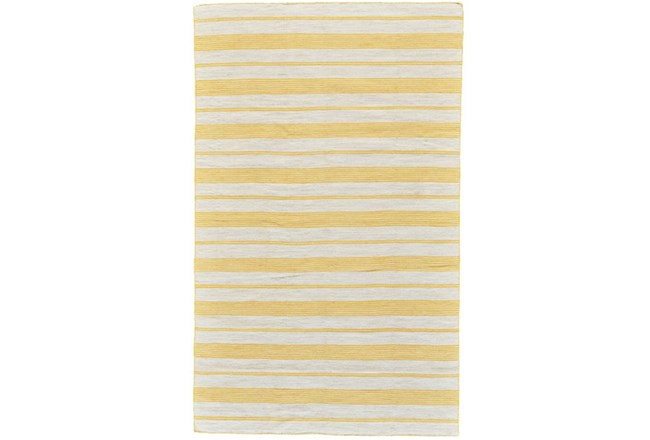 48X72 Rug-Recycled Pet Gold Pin Stripes - 360