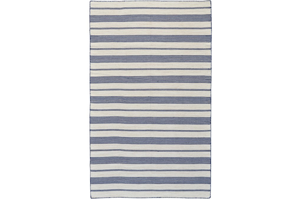 4'x6' Rug-Recycled Pet Navy Pin Stripes