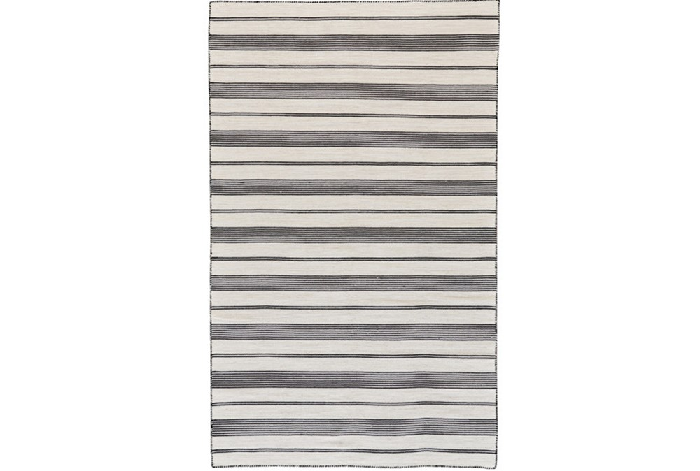60X96 Rug-Recycled Pet Black Pin Stripes