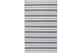 60X96 Rug-Recycled Pet Navy Pin Stripes
