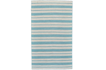 60X96 Rug-Recycled Pet Turquoise Pin Stripes