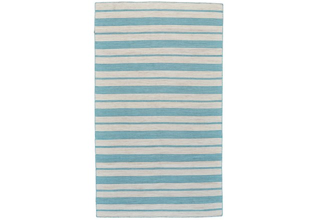 60X96 Rug-Recycled Pet Turquoise Pin Stripes - 360