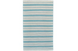 8'x11' Rug-Recycled Pet Turquoise Pin Stripes