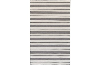96X132 Rug-Recycled Pet Black Pin Stripes