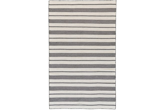 96X132 Rug-Recycled Pet Black Pin Stripes - 360
