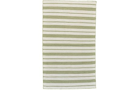 96X132 Rug-Recycled Pet Green Pin Stripes - Main