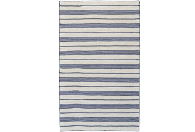 96X132 Rug-Recycled Pet Navy Pin Stripes - 360