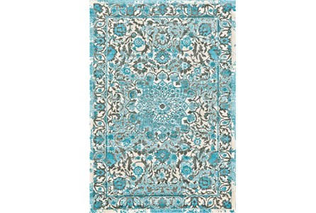 60X96 Rug-Aqua Distressed Medallion