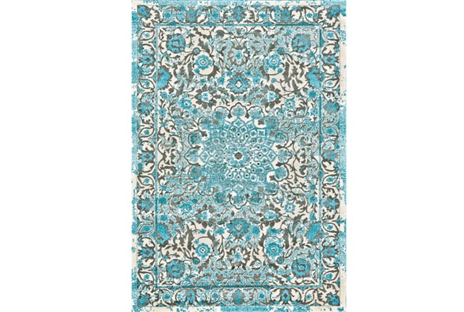 60X96 Rug-Aqua Distressed Medallion - 360