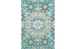 5'x8' Rug-Aqua And Kiwi Large Medallion