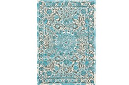 96X132 Rug-Aqua Distressed Medallion