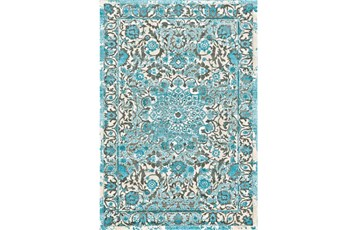 8'x11' Rug-Aqua Distressed Medallion