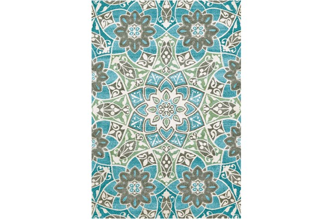 120X158 Rug-Aqua And Kiwi Large Medallion - 360