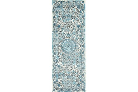 34X94 Rug-Aqua Distressed Medallion