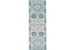 34X94 Rug-Aqua And Kiwi Large Medallion