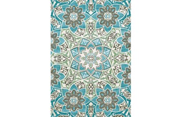 8'x11' Rug-Aqua And Kiwi Large Medallion