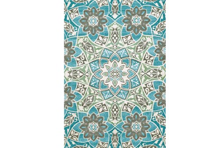 96X132 Rug-Aqua And Kiwi Large Medallion