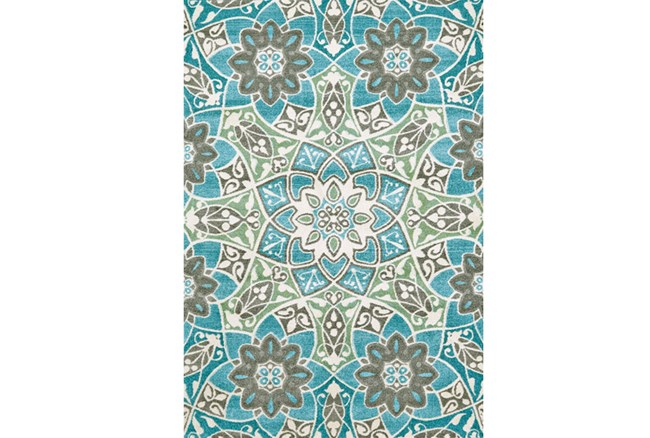 96X132 Rug-Aqua And Kiwi Large Medallion - 360