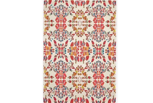 120X158 Rug-Coral And Orange Kaleidoscope - 360
