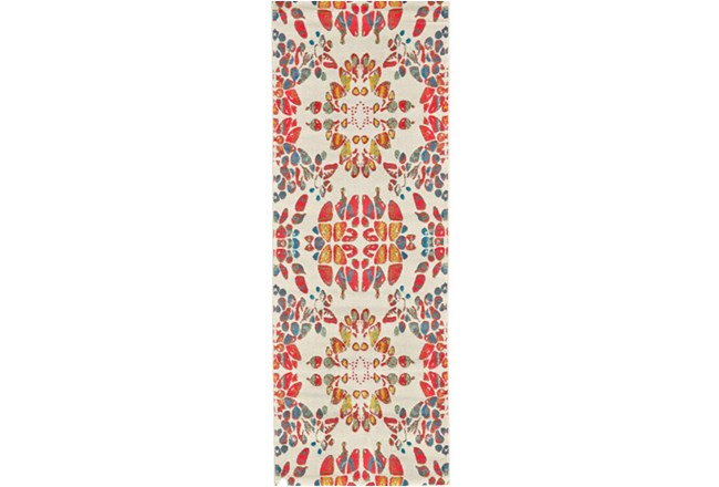 34X94 Rug-Coral And Orange Kaleidoscope - 360