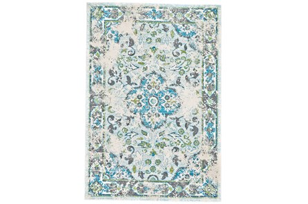 26X48 Rug-Aqua And Green Distressed Medallion